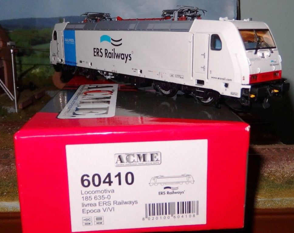 60410 Acme 185 635-0 Railpool / ERS Railways livrea grigia fascia blu,