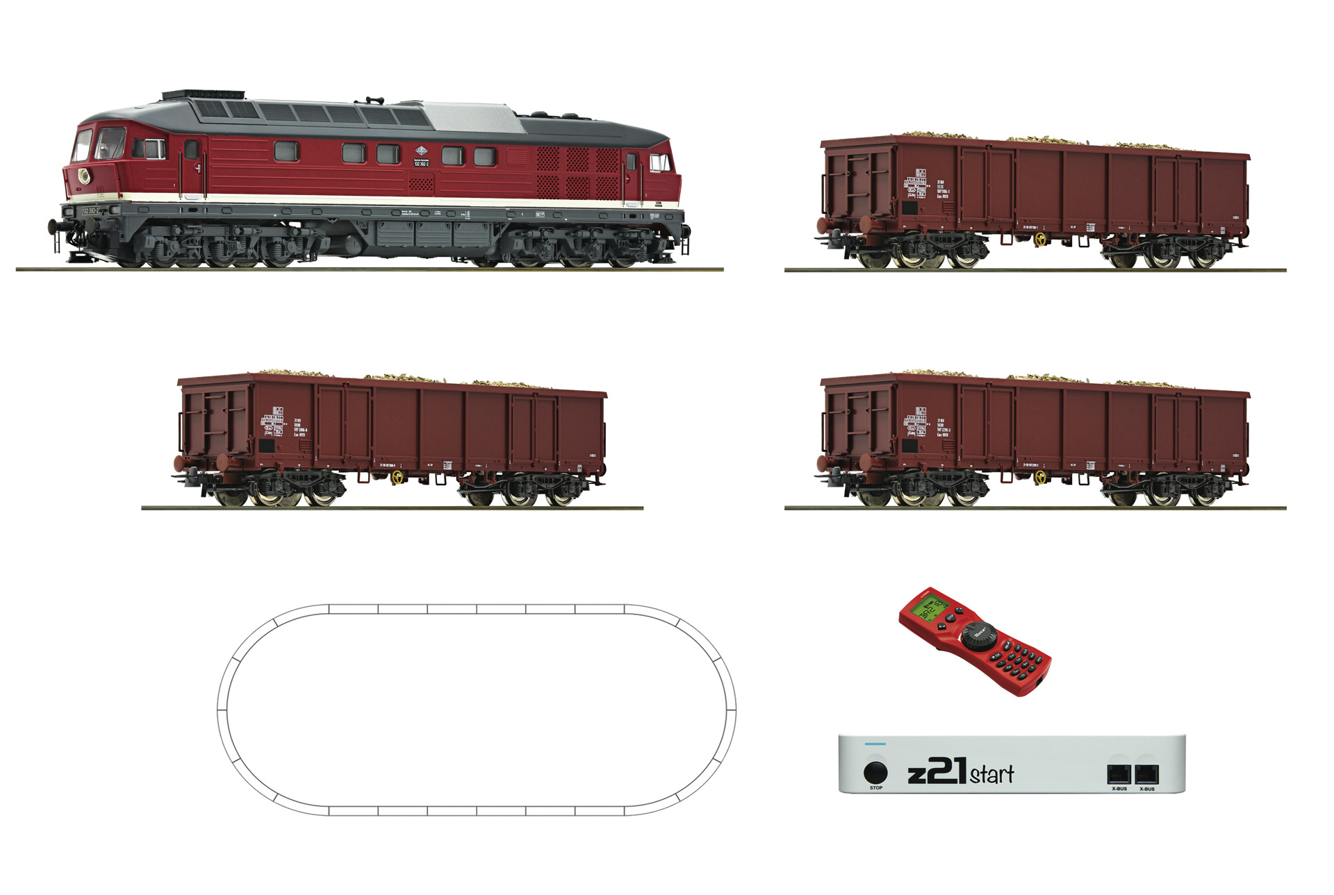 51292 Roco HO Start set digitale con locomotiva diesel DR 132 e 3 carri