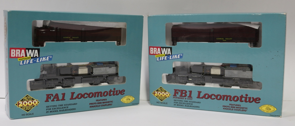 23463 Life-Like Brawa HO Set 2 loco USA Lehigh Valley Alco FA1/FB A548 e A549