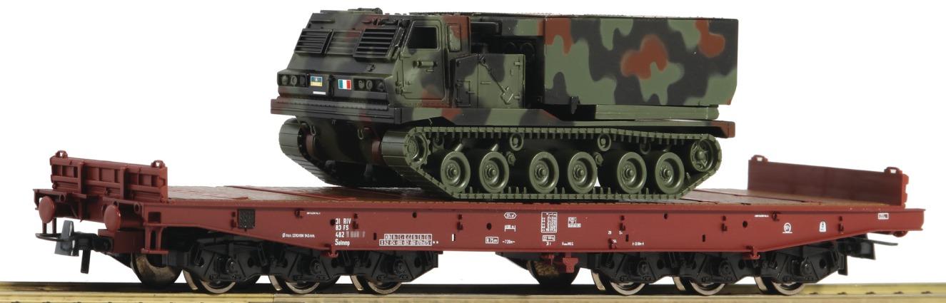 76954 Roco HO FS Italia Carro pianale carichi pesanti con cingolato Esercito It.
