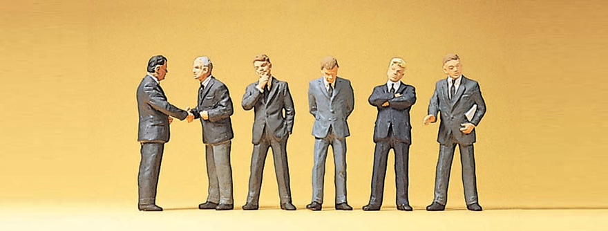 10380 Preiser HO conf. 6 Personaggi businessmen come foto scala 1:87