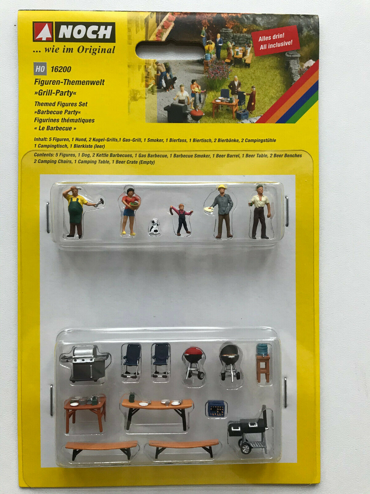16200 Noch HO Set personaggi e accessori Barbecue Party come da foto scala 1:87