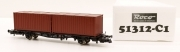 51312-C1 Roco HO Carro pianale con containers DB ep.V sc 1:87 nuovo da start set